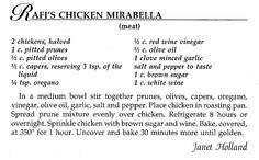 Rafi's Chicken Mirabella from Janet Holland. A #recipe from our #JFSNEPA #ScrantonCooks cookbook! Let us know if you're making these recipes!