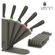 "The ULTIMATE space saving knife block that doesn't compromise on design or quality!  Our ""easy-release"" mechanism allows for storing on your countertop, in a drawer, or mounted on a wall.   http://www.vennkitchen.com/products.html  #kitchendesign #style #homedecor #instahome #stackstorestyle #venn #interiordesign #home #organization #kitchen"