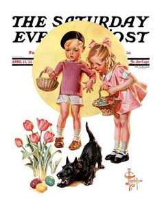 "Giclee Print: ""Easter Egg Hunt,"" Saturday Evening Post Cover, April 1933 by Joseph Christian Leyendecker : Norman Rockwell, Joseph, Jc Leyendecker, Francis Xavier, Saturday Evening Post, Art Archive, Collage Sheet, Retro, American Art"