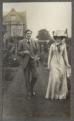 lady ottoline morrell with edward william horner ❋ frank harris and nellie (vintage photographie)