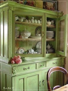 Gorgeous Vintage Green Dresser by lessie Furniture Projects, Furniture Makeover, Diy Furniture, Office Furniture, Bedroom Furniture, Furniture Design, Shabby Chic Furniture, Vintage Furniture, Green Painted Furniture