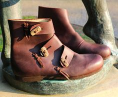 BORG Viking Leather Shoes Boots Antler Buttons Norse Vikings
