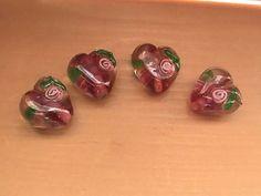 Pink Lampwork Glass Heart Flower Beads 13mm  DIY by @dragonflyridge, $3.00
