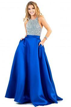 long blue beaded pocket flowy ballgown prom dress shail k ypsilon dresses