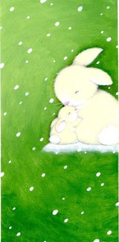 Steve Whitlow bunny. I like this illustration's unusual use of the snow scene on a leaf- green background.-- Michael McClintock