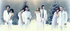 The Twilight Saga couples: Jasper and Alice, Bella and Edward, Rosalie and Emmett, and Esme and Carlisle