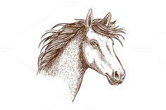 Sketched stallion horse icon. $6.00