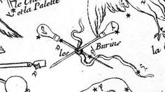 """On his 1756 planisphere Nicolas Louis de Lacaille showed Caelum as a pair of crossed engraving tools tied together with a ribbon. He named the constellation les Burins. This was Latinized to Caelum Scalptorium on the second edition of the chart in 1763. This illustration comes from a copy of Lacaille's original map published in the Atlas Céleste of Jean Fortin. (Image © Ian Ridpath.) Mona Evans, """"Lacaille's Skies – Arts"""" http://www.bellaonline.com/articles/art184008.asp"""