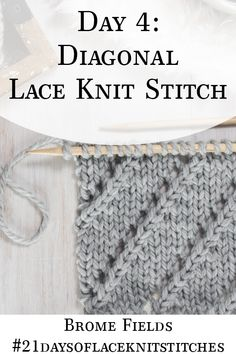 Learn how to knit the Diagonal Lace Knit Stitch in today's video tutorial by Brome Fields. Learn how to knit the Diagonal Lace Knit Stitch in today's video tutorial by Brome Fields. Lace Knitting Stitches, Lace Knitting Patterns, Knitting Blogs, Easy Knitting, Knitting For Beginners, Knitting Yarn, Knitting Projects, Knitting Tutorials, Knitting Machine
