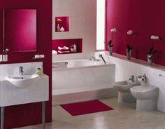 Nice red theme bathroom, very simple