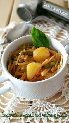 Spaghetti spezzati con patate e piselli, ricetta, cucina preDiletta