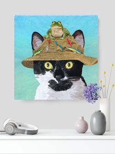 "#Catprint #catwallart on canvas with 11/2"" stretchers.#autism #autismawareness #fishcat #catart #walldecorart #homedecor #catdecor #animalart"
