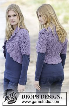 "Forever Yours - Knitted DROPS shoulder piece with lace pattern and purl sts in ""Merino Extra Fine"". - Free pattern by DROPS Design Ladies Cardigan Knitting Patterns, Sweater Knitting Patterns, Free Knitting, Crochet Bolero, Knit Shrug, Knit Crochet, Drops Design, Crochet Design, Magazine Drops"