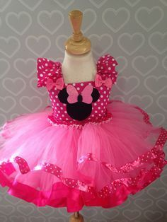 Baby Minnie Mouse Girl 1st First Birthday Tutu Outfit Shirt Set zg US Stock