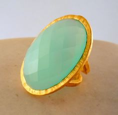 Look Into My Chalcedony Dos 18K Gold Plated by AmorOrquidea, $150.00