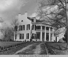 B&W photo, circa Richland Plantation, constructed in the Norwood, La. Greek revival home. Features inlude fireplaces against side walls and exterior walls with scored stucco to resemble brick. Old Southern Homes, Southern Plantation Homes, Southern Mansions, Plantation Houses, Southern Gothic, Southern Style, Old Southern Plantations, Louisiana Plantations, Southern Architecture