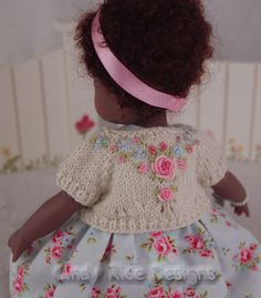 """Hand embroidered knit cardigan made for Kish 8"""" Chrysalis dolls by Cindy Rice Designs."""