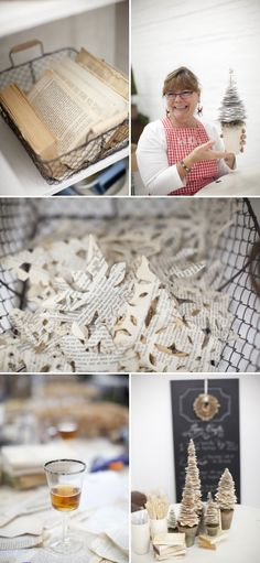 things to make out of old book pages - napkin ring, wreath, trees, snowflakes... It almost kills me to deface books for decoration, but these are way cool...
