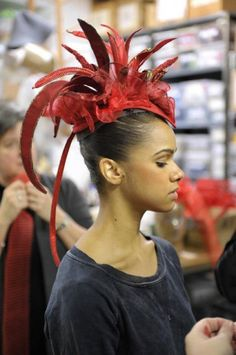 Misty Copeland, one of three ABT ballerinas selected by Alexei Ratmansky, to premiere in his new production of Firebird, tries on her new headdress. Misty Copeland, Ballet Tutu, Ballet Dancers, Ballet Costumes, Dance Costumes, Headdress, Headpiece, Phoenix Costume, Ballet Hairstyles