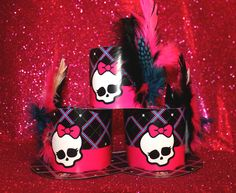 Customized Monster High Party Hats - Added colorful matching feather and jewels to jazz them up. Monster High Birthday, Monster High Party, Spa Party, Sugar And Spice, Party Hats, Jazz, Feather, Birthdays, Parties