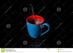 A Blue Cup Of Hot Steaming Coffee Black Background - Download From Over 45 Million High Quality Stock Photos, Images, Vectors. Sign up for FREE today. Image: 62465292