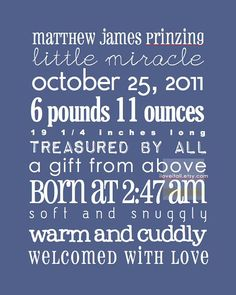 Personalized Birth Custom Date Baby Nursery Birth Adoption Announcement Memory Sign. 8x10 // Choice of Colors // Rustic Poster Print