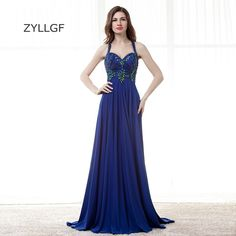 ZYLLGF Royal Blue Evening Gowns Long Sweetheat Chiffon Vestido De Festa Longo De Luxo Crystal Beaded Evening Dress Lebanon Q137 #Affiliate