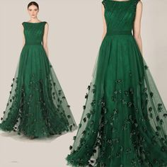 Dark Green Tulle Long Elegant Evening Dress Formal Mother Of The Bride Dress 2015 Wedding Dress With Hand Made Flowers Hot Style, $116.26 | DHgate.com