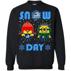 Minion New Hampshire Wildcats Ugly Christmas Sweaters Snow Day Snowflake Sweatshirts