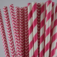 Super cute and adorable paper drinking straw that you can use for your bridal shower - all in pink!