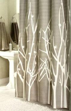 Earthy, grey shower curtain. Cool and almost wintery. Hotel Twenty One Cotton Shower Curtain Branches Tree Khaki Green Taupe 72-inch By 72-inch