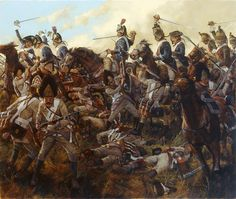 Kellerman's Charge at Marengo-Keith Rocco.  We see depicted in this painting the crushing cavalry charge by General Kellermann's 400 horsemen into the flank of the column of Austrian infantry. The attack which completely caught the Austrians by surprise, came just after they had received infantry fire at point blank range from the 9th Demi-Brigade of light infantry and three rounds of canister from the guns of Marmont.