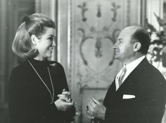 Princess Grace of Monaco chatting with Baron of Loewenfeld at the Prince's Place of Monaco, 1969.