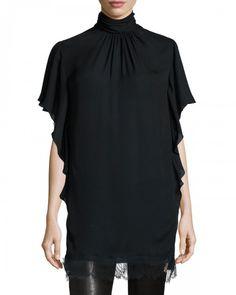 Tamara Mellon Lace Trim Turtleneck Tunic Black 2 Black   Top, Cloak and Clothing