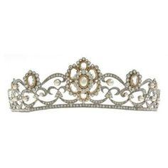 Banhado a prata pérola e cristal tiara