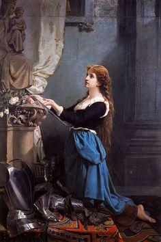 My Ear-Trumpet Has Been Struck By Lightning, vcrfl: Zoe-Laure de Châtillon: Jeanne d'Arc voue. Joan D Arc, Saint Joan Of Arc, St Joan, Catholic Art, Catholic Saints, Religious Art, Laura Lee, Jeanne D'arc, Creation Art