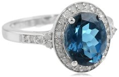 Sterling Silver Oval London Blue Topaz and Diamond-Accent Ring, Size 7