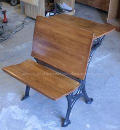 Restoring an antique school desk.