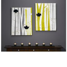 easy! Leaves Of Grass Wall Art @ http://www.krylon.com/projects/home-decor/leaves-wall-art/index.jsp --- canvas, painters tape, spray paints in gloss, seimi-gloss & metallic satin & webbing spray & spray painted leaves or leaf images - very easy project - change colors to suit decor