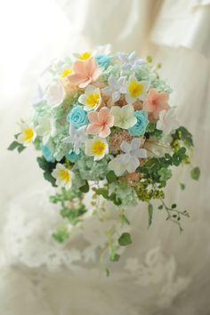 シャワーブーケ プリザーブドのプルメリアで 葉山まで : 一会 ウエディングの花