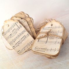 100 music gift tags - sheet music gift tags, escort cards, distressed hanging tags, stained merchandise tags on Etsy, $26.28 CAD