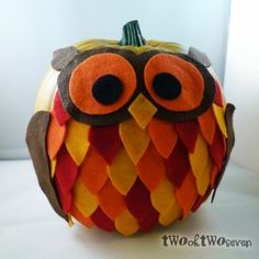 Owl decorated pumpkin, could use this idea on foam ball to create owl decoration