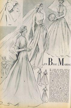 VINTAGE FRENCH MODES TRAVAUX 50s CATALOG BRIDAL FASHION PATTERNS ROCHAS | eBay