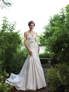 Trumpet / mermaid sleeveless taffeta floor-length bridal gown