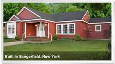 Awesome bright red manufactured home built in Sangerfield, New York. http://www.championhomes.com/home-plans-and-photos/manufactured-homes#