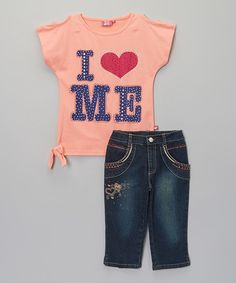 Love this Coral 'I Love Me' Tee & Capri Pants - Infant, Toddler & Girls by Trendy Girl on #zulily! #zulilyfinds  $10.99