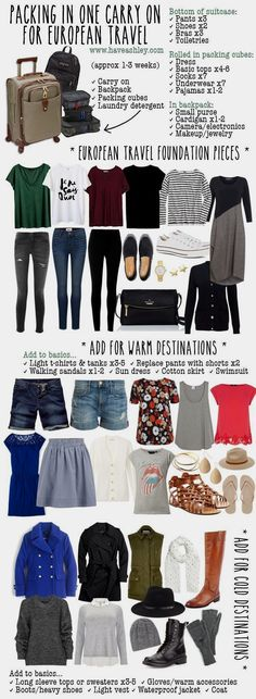 Carry on suitcase · trip to europe · truncation - another look at a travel capsule - truncation packing lists, travel tips packing Packing Tips For Travel, Travel Essentials, Travel Hacks, Travel Ideas, Europe Packing, Travel Europe, Travel Pro, Travel Advice, Packing Ideas