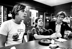 Carrie Fisher, Harrison Ford, and Mark Hamill in the Break Room, 1977