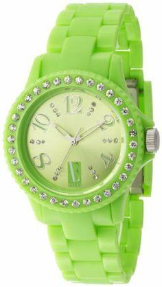 L by ELLE Women's LE50001P04 Green Plastic Stones Watch L by ELLE. $29.50. Green dial watch. Green plastic watch. Japan Analog-Quartz movement. Fashion plastic analog watch. Water-resistant to 33 feet (10 M)