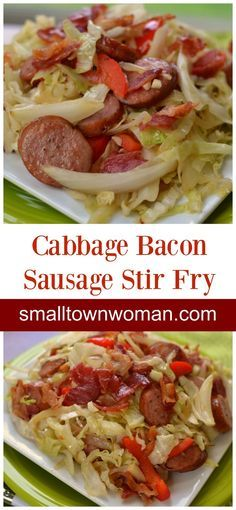You are just a few minutes away from this delicious low carb Cabbage Bacon Sausage Stir Fry.  This scrumptious recipe keeps things simple with just a handful of ingredients.